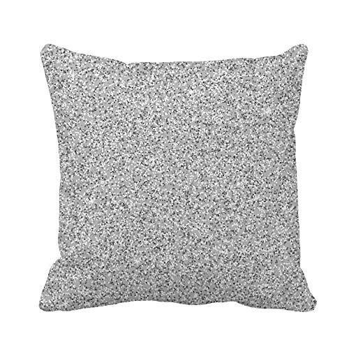 N\A Throw Pillow Cover Grey Shimmering Imitación Polvo Bolas Brillantes Patrón Abstracto Funda de Almohada Plateada Funda de Almohada Cuadrada Decorativa para el hogar Funda de cojín