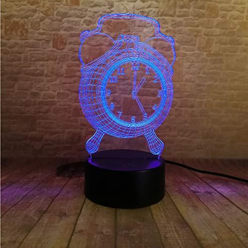 Crjzty Neue Mode 3D Wecker Nachtlicht 7 Farbwechsel 3D Nachtlicht Stimmung Schlafzimmer Wohnzimmer...