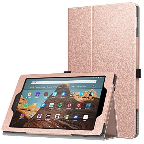 MoKo Hülle für Das Neue Amazon Fire HD 10 Tablet (9. Gen 2019 und 7. Gen 2017 Model), Kunstleder Ständer Schutzhülle Smart Cover Auto Sleep/Wake up für Fire HD 10,1 Zoll Tablette, Rose Gold