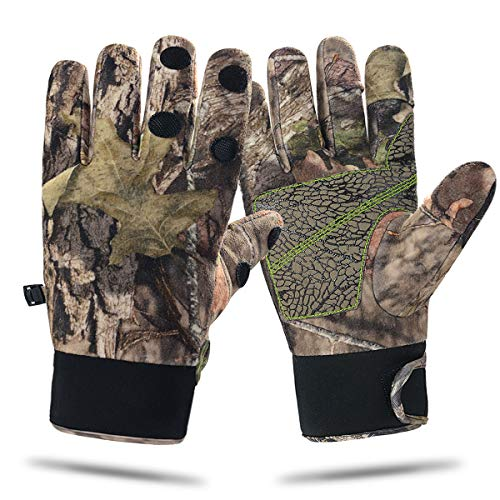 Camouflage Hunting Gloves Full Finger Fingerless Adjustable Waterproof Windproof Gloves Pro Anti-Slip Paim Camo Glove Archery Accessories Hunting Outdoors