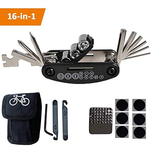 TBoonor Fahrrad-Multitool, 16-in-1 Fahrrad Werkzeug Multifunktionswerkzeug Fahrrad Reparatur Set Pocket Tool Multifunktions Werkzeug (Fahrrad-Multitool)