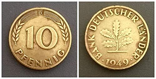 – Deutschland (1949) 10 Pfennig, Bank Deutscher Länder Prägezeichen D