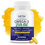 Grow Vitamin Omega 3 Fish Oil : Heart, Brain, and Joint Support   864 mg EPA 576 mg DHA - Natural Lemon Flavor, Sustainably Sourced - Easy to Swallow 30 Day Supply