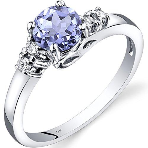14K White Gold Tanzanite Diamond 5 Stone Ring 0.75 Carats Size 7
