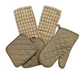 Kitchen Linen Set (Includes: one oven mitt, two pot holders and two dish towels) (Olive Oil)