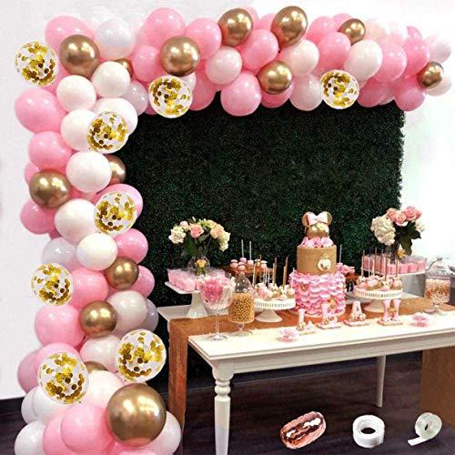 121 Stück Ballon Girlande Kit, Rosa weiße Metallic Gold Latexballons, Konfetti Luftballons + 3 BallonZubehör für Geburtstagsfeier Hochzeit Party und Kinder Dusche Party Festival Dekoration