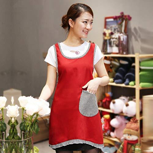 LYDCX Delantal De Cocina Estilo Coreano Princesa Chaleco De Encaje para Mujer Estilo Europeo Delantal para Adultos Rojo Oscuro 84 * 97 Cm