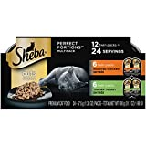 SHEBA PERFECT PORTIONS Soft Wet Cat Food Cuts in Gravy Roasted Chicken Entrée & Tender Turkey Entrée Variety Pack, (12) 2.6 oz. Easy Peel Twin-Pack Trays