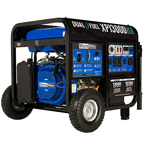 DuroMax XP13000HX Dual Fuel Portable Generator-13000 Watt Gas or Propane Powered Electric Start w/CO Alert, 50 State Approved, Blue