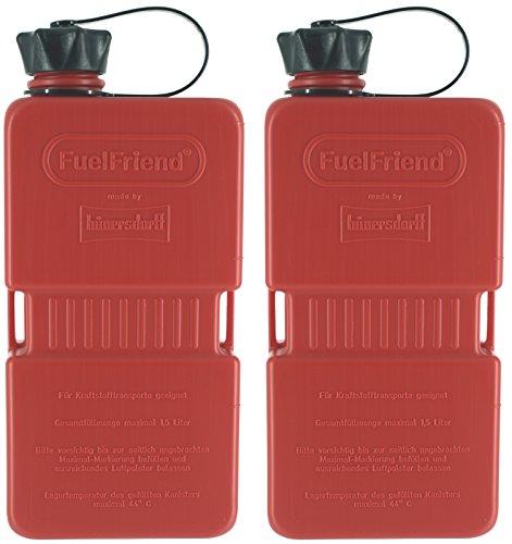 FuelFriend®-Plus 1,5 Liter - Klein-Benzinkanister Mini-Reservekanister im Doppelpack