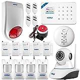 KERUI W18 WiFi Kit Alarme Maison GSM avec 4 PIR, 5 Porte/Vitre, Sirène extérieure, IP Caméra Surveillance Sécurité WiFi...