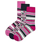 Cottonique - Ladies Diabetic Socks Non Elastic Loose Top Size 4-8 Black Pink