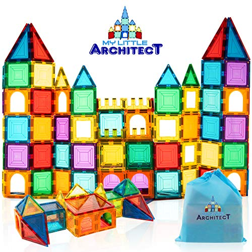 My Little Architect, Magnetic Tiles for Kids, 60-Piece 3D Magnet Block Building Set Educational...