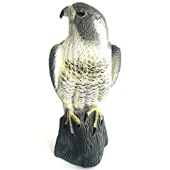 """Measures 15.7"""" Height x 7"""" Width. Made of sturdy molded plastic and seems very realistic, scare away birds effectively. Note: Please change the position of the hawk at all times to prevent birds from getting used to it. Just put the owl in a visible ..."""