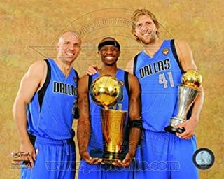 Photofile PFSAANS09701 Dirk Nowitzki Jason Terry & Jason Kidd with the 2011 NBA Championship & MVP Trophies Game 6 of the 2011 NBA Finals Sports Photo - 10 x 8