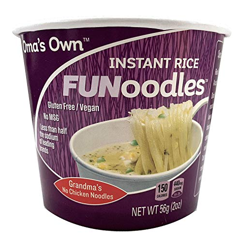 Oma's Own FUNoodles (Grandma's No Chicken Noodles) Vegan, Gluten Free, No MSG, Non-GMO, 2 oz cups (12 count) …