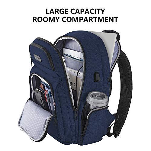 KROSER Travel Laptop Backpack Stylish 15.6 Inch Computer Backpack with Hard Shelled Saferoom RFID Pockets Water-Repellent Sturdy School Daypack for Work/Business/College/Men/Women (Dark Blue)