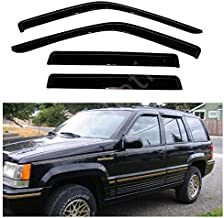 itelleti 4pcs Outside Mount Dark Smoke Sun/Rain Guard Front+Rear Tape-On Auto Window Visors For 93-98 Jeep Grand Cherokee