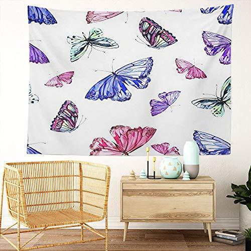 Y·JIANG Tapiz de mariposas, mariposas de acuarela, hermoso floral de verano, decoración de dormitorio grande, manta ancha para colgar en la pared para sala de estar, dormitorio, 60 x 50 pulgadas