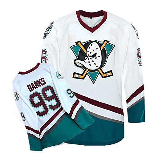 Yajun Adam Banks #99 Mighty Ducks Film Eishockey Trikots Jersey NHL Herren Sweatshirts Atmungsaktiv T-Shirt Bekleidung,L