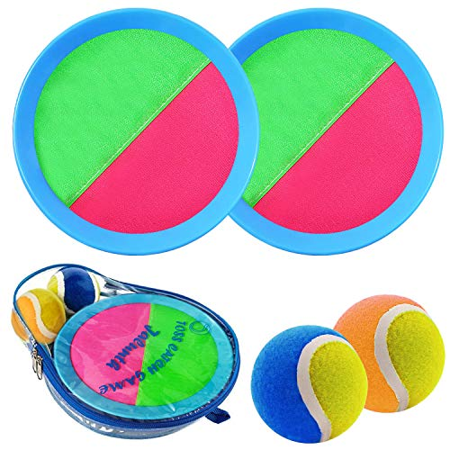 Ball Catch Set Game Toss Paddle - Beach Toys Back Yard Outdoor Games Lawn Backyard Target Throw Catch Sticky Set Age 3 4 5 6 7 8 9 10 11 12 Years Old Boys Girls Kids Easter Gifts Azure Blue Pink