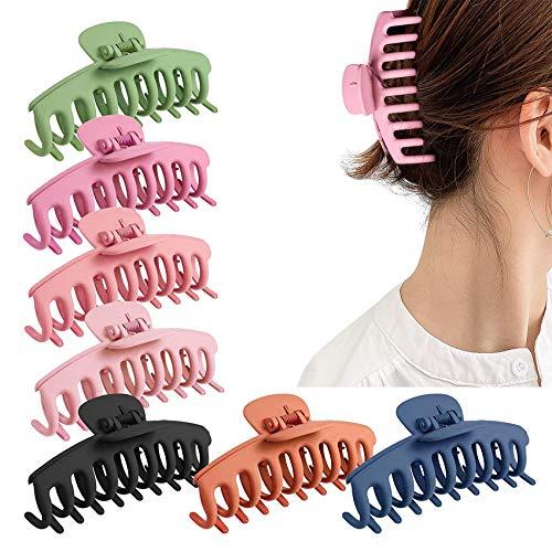 Rpanle 10cm Clips Hebillas de Pelo Grandes de Plástico, 7 Piezas Clip de Pelo de Plástico Antideslizantes Para Mujer de Pelo Grueso, Sujeción Fuerte(7 Colores)
