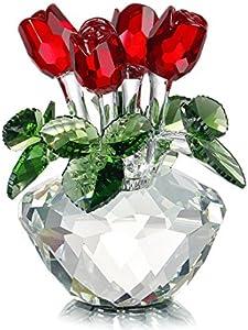 H&D Ramo de primavera de cristal flores de cristal rojo rosa figura, adorno en caja de regalo
