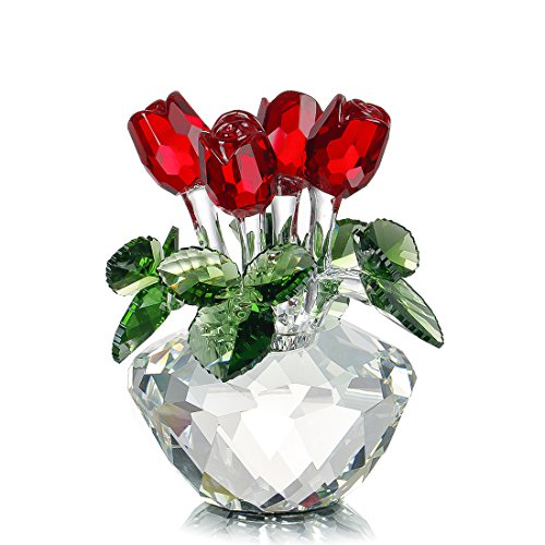 H&D 置物 飾り春 花束クリスタルガラス 花 ギフト箱入りローズ レッド