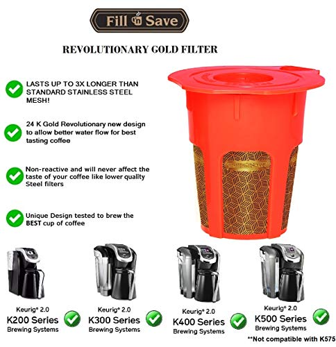 Fill N Save 2 Pack Reusable Carafe K-Cups. 24K Gold Reusable coffee filter for the Keurig 2.0, K200, K300, K400, K500 Series of Machines. Refillable K Carafe Pods