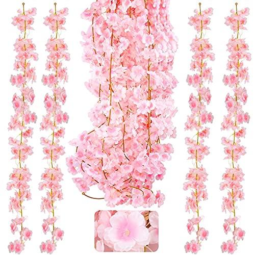 KONUNUS 4 Pack Artificial Cherry Blossom, 5.9ft Artificial Silk Cherry Blossom Hanging Vine Garland for Home Wedding Indoor Outdoor Garden Wall Decor Party Decoration