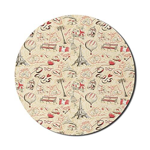 Paris Mouse Pad für Computer, Französisch Kultur Doodle mit Luftschiff Croissants Kaffeehut Sonnenbrille Lippenstift, Runde rutschfeste dicke Gummi Modern Gaming Mousepad, 8 'Runde, Gelb Rot Schwarz
