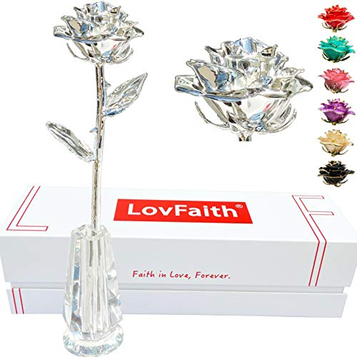Silver Dipped Rose in Crystal Stand
