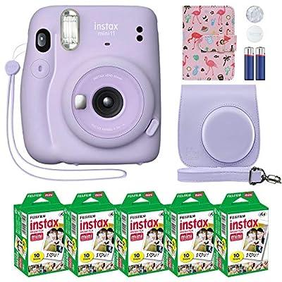 Fujifilm Instax Mini 11 Instant Camera Lilac Purple + Custom Case + Fuji Instax Film Value Pack (50 Sheets) Flamingo Designer Photo Album for Fuji instax Mini 11 Photos from FUJIFILM