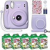 Fujifilm Instax Mini 11 Instant Camera Lilac Purple + Custom Case + Fuji Instax Film Value Pack (50 Sheets) Flamingo Designer Photo Album for Fuji instax Mini 11 Photos