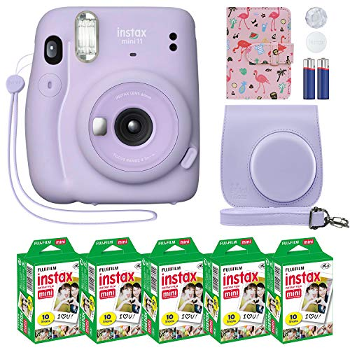 Fujifilm Instax Mini 11 Instant Camera Lilac Purple + Custom Case + Fuji Instax Film Value Pack (50 Sheets) Flamingo Designer Photo Album for Fuji instax Mini 11 Photos