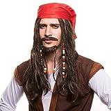 Piratas Pirata Peluca Peluca de pirata con perlas und rojo Pañuelo para la perfecto Disfraz de pirata zum Carnaval y el carnaval