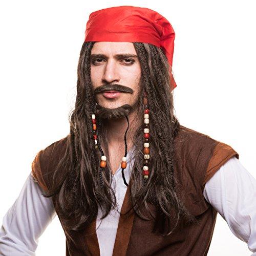 Piraten Piratin Seeräuber Perücke (Piratenperücke) mit Perlen und roten Bandana für das perfekte Piratenkostüm zum Fasching und Karneval…