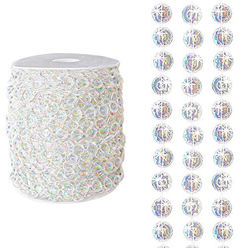 Perline in acrilico trasparente da 18 m, riflettono la luce arcobaleno, decorazione di lusso per casa, hotel, matrimoni, feste, porte, finestre