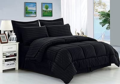 Elegant Comfort Wrinkle Resistant - Silky Soft Dobby Stripe 8-Piece Bed-in-a-Bag Comforter Set (Package includes 4pc Sheet Set, 1 Comforter, 1 Bed Skirt, 2 Euro Shams)- Available In All Sizes And Many Colors