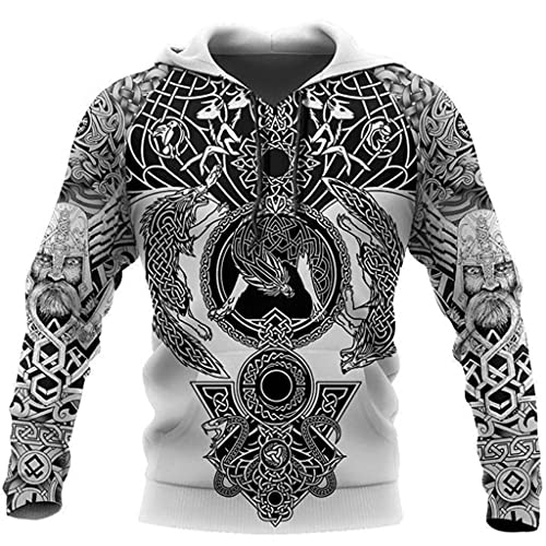 Jersey de Diseño de Estilo de Tatuaje Tribal Vikingo, Sudadera con Capucha Deportiva Unisex con Estampado 3D, Tamaño Completo S-5XL,Hoodie,3XL