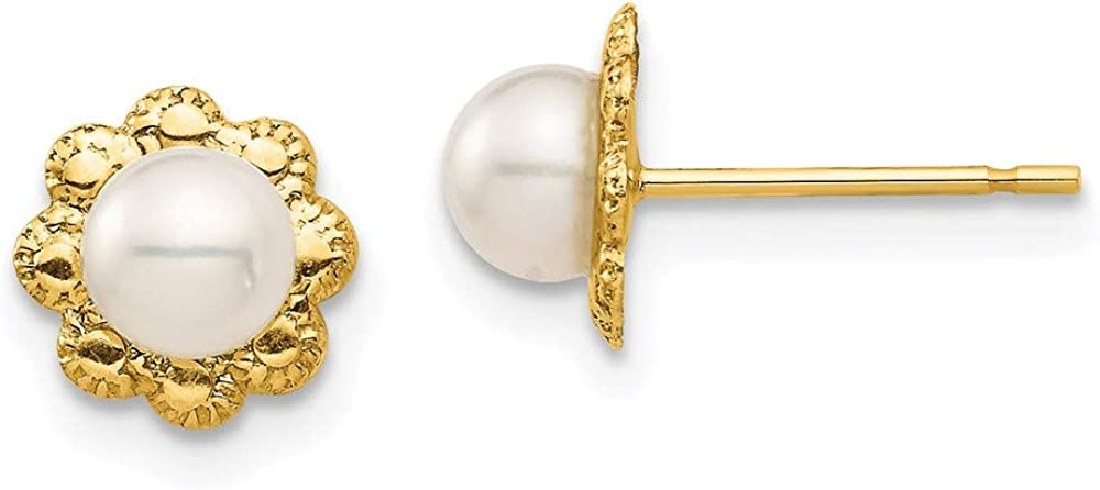 14K Madi K 4-5mm White Button Freshwater Cultured Pearl Post Earrings 7.37mm 7.05mm style SE2959