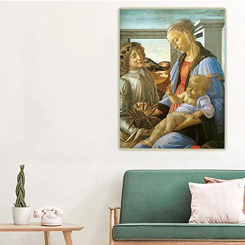 Nueva pintura por números para adultos niños - Sandro Botticelli- Virgen y el niño con un ángel - DIY pintura digital por números Kits sobre lienzo