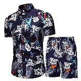 Playa Shirt Hombre Verano Casual Vacaciones Hombre Casuales Camisas Botón Placket Lazada Moda Manga Corta Set Casual Cómodo Surf Hombre Hawaii Camisa A-A013 3XL