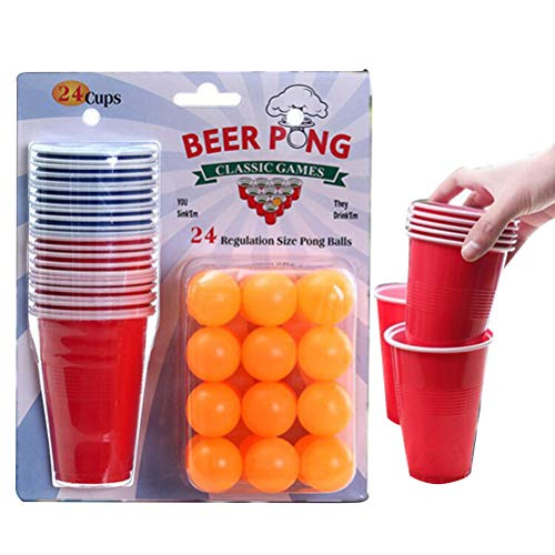 Halsey99 1 Satz Unterhaltung Spaß Ping Pong Game Party Werfen Drinking Game Props Beer Pong Set 24 Cups Gelb Ping-Pong-Bälle Partei Family Game