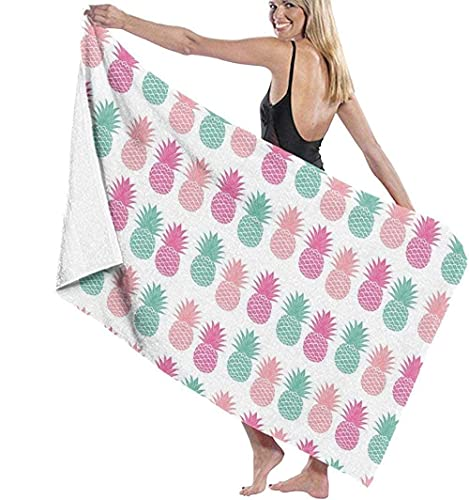 MENYUAN Toalla de playa grande de pino rosa azul impresión 3D toallas de viaje ligeras suaves absorbentes toalla de baño deportiva para dormitorio piscina 130 x 80 cm