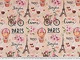 ab 1m: Panama Dekostoff, Digitaldruck, Paris, pink, 140cm