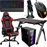 Deco Gear PC Gaming Starter Pack, Includes LED Gaming Desk, Gaming Chair, Mid-Tower Tempered Glass PC Case, Cherry Red Mechanical Keyboard, Streaming and Multiplayer Microphone, Wired LED Mouse