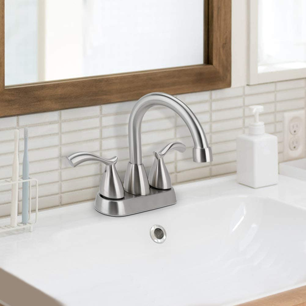 Buy Bathroom Faucet 2 Handle Brushed Nickel Bathroom Sink Faucet 4 Inch Centerset Lead Free Modern Commercial Bathroom Faucets 3 Holes Double Handles Rv Bathroom Vanity Sink Faucets Online In Turkey B08mlq12kw