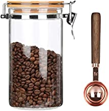 KKC Borosilicate Glass Coffee Bean Storage Container with Airtight Lid,Glass Sealed Jar with Locking Clamp Lid for Coffee Beans,Nuts,Coffee Storage Canister with Spoon for 1 lb Beans,1200 ML