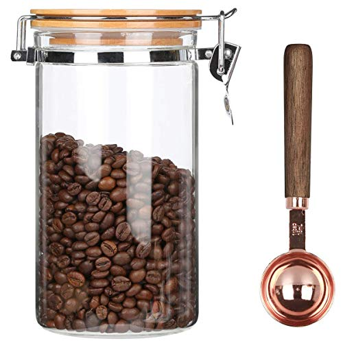 KKC Borosilicate Glass Coffee Bean Storage Container with Airtight Lid,Glass Sealed Jar with Locking Clamp Lid for Coffee Beans,Nuts,Coffee Storage Canister with Spoon,40 FLoz (1200 ML)